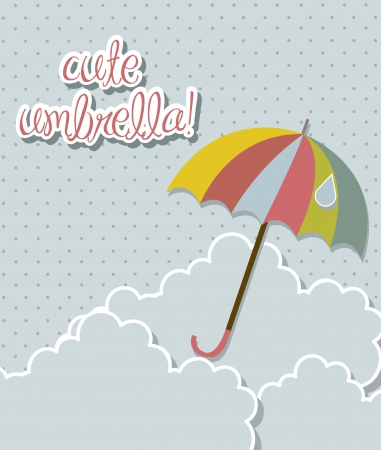 cute umbrella with clouds over sky background. vector illustration Vector