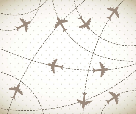 passenger airline: brown airplanes over vintage background. vector illustration