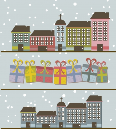 cute buildings with gifts and snow background. vector illustration Vector