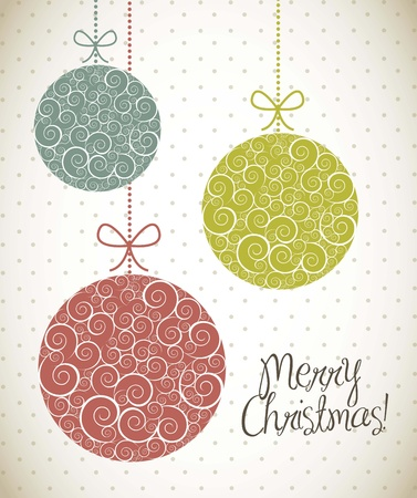 christmas balls with ornament, vintage style. vector illustration Ilustração