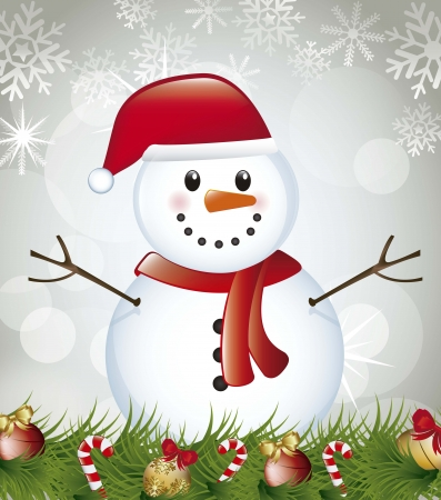 snowman with garland over gray background. vector illustration Stock Vector - 15379509