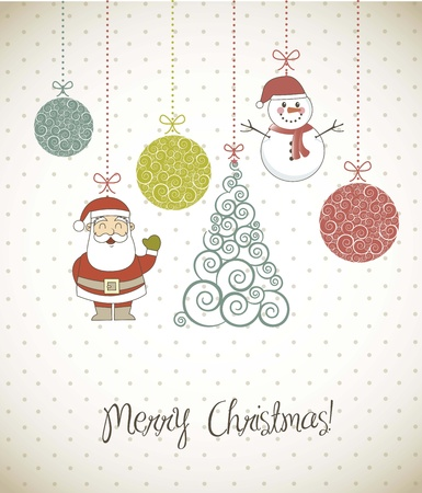 christmas elements with santa, snowman and tree. vector illustration Vector