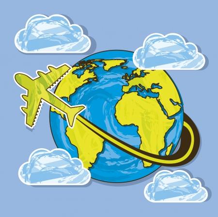 planeta con avi�n sobre el cielo de fondo. ilustraci�n vectorial