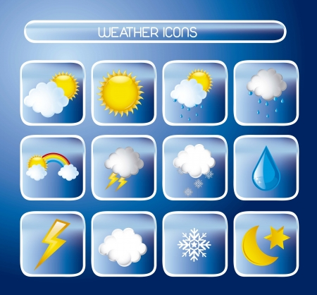 weather forecast: weather icons over blue background. vector illustration