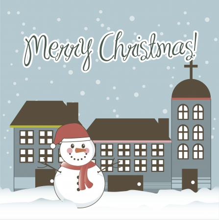 merry christmas card with snowman and buildings. vector illustration Vector