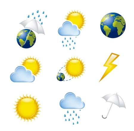 hot temperature: iconos del tiempo aislados sobre fondo blanco. ilustraci�n vectorial