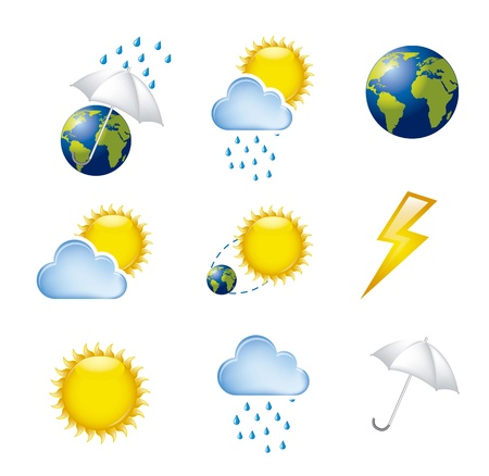 rainy season: weather icons isolated over white background. vector illustration