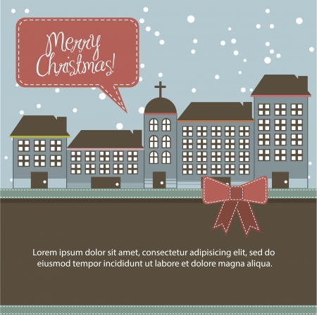 christmas buildings card with space for copy. vector illustration  Vector