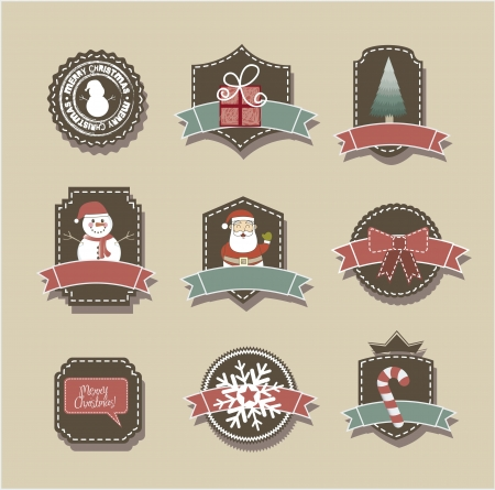christmas tags over beige background, vintage style. vector Vector