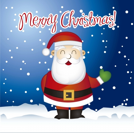 merry chrismas card with santa claus over snow. vector illustration Stock Vector - 15379251