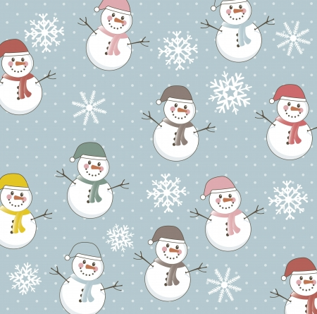 snowman pattern over blue background. vector illustration Vector