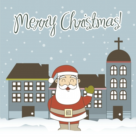 oldman: christmas card with santa claus and buildings. vector illustration