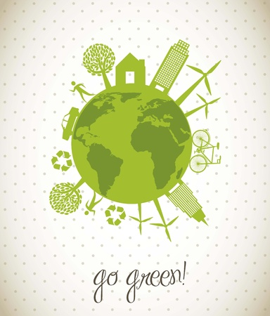 earth pollution: green ecology icons over planet, go green. vector illustration