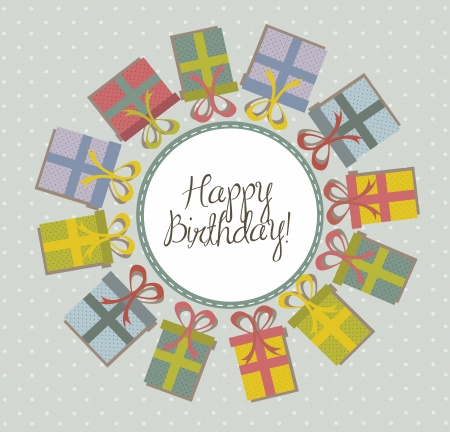 birthday card with cute gifts over blue background. vector illustration Vector