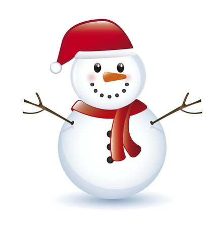 snowman with shadow isolated over white background. vector Vector