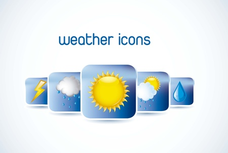 weather icons with shadow over white background. vector Stock Vector - 15379378