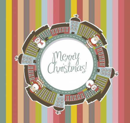 christmas card with cute buildings with santa and snowman. vector Vector