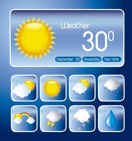 con iconos sobre fondo azul, el cambio de clima. vector