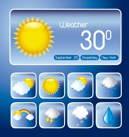 weather forecast:  with icons over blue background, weather change. vector