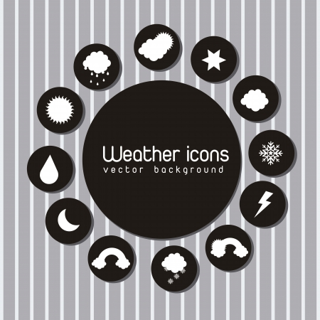 black and white weather icons  over gray background. vector Stock Vector - 15378998