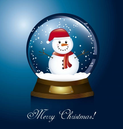 snowglobe: merry christmas card with christmas globe and snowman. vector Illustration