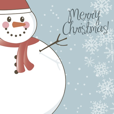 merry christmas card with snowman background. vector illustration Vector