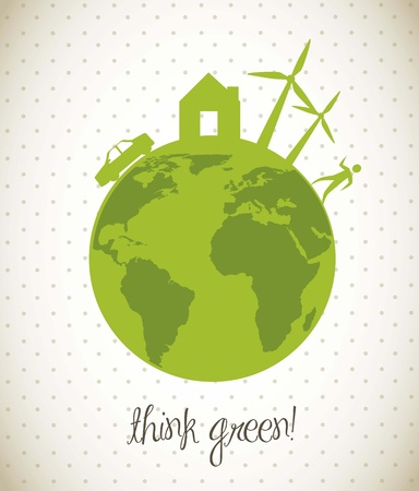 planet with green elements over vintage background. vector illustration Stock Vector - 15379349