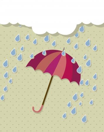 vinatage umbrella with rain and cloud. vector illustration Stock Vector - 15379220