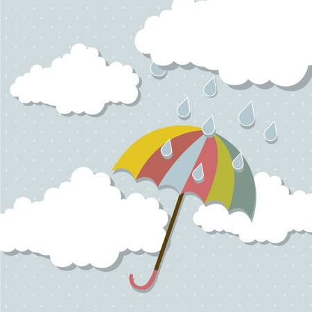 cute umbrella with clouds and rain over blue background. vector Stock Vector - 15379224
