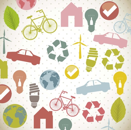 backkground: recycle signs over beige background. vector illustration