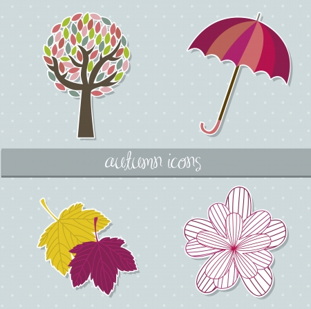 cute autumn elements over blue background. vector illustration Vector