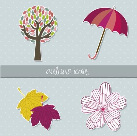 paper umbrella: cute autumn elements over blue background. vector illustration