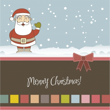 christmas card with santa claus over snow. vector illustration Stock Vector - 15379245