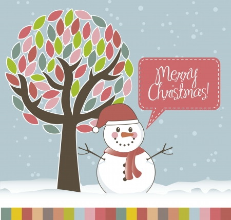 christmas card with snowman and tree.  illustration Vector