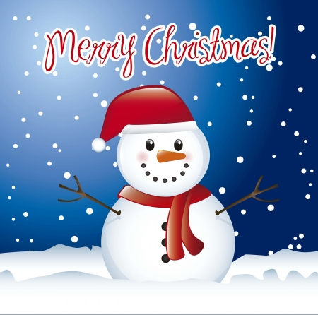 carrot nose: christmas card with snowman with snow. vector illustration