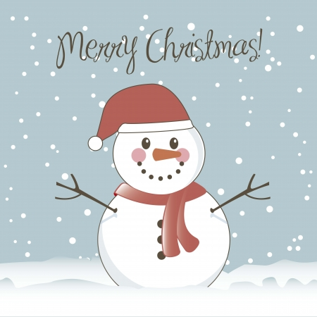 snow cap: christmas card with snowman, vintage style. vector illustration