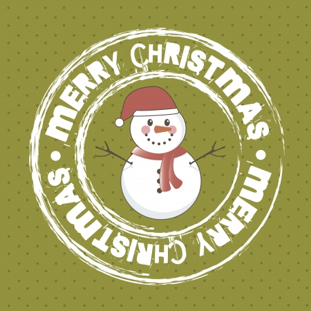 merry christmas card with snowman over green background. vector Vector