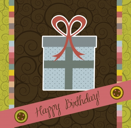 birthday card with cute gift, scrapbook. vector illustration Stock Vector - 15379449