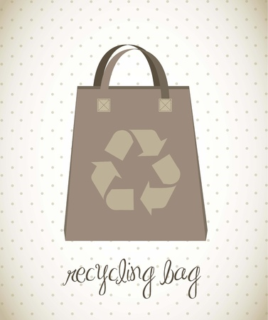 recycling bag over vintage background. vector illustration Vector