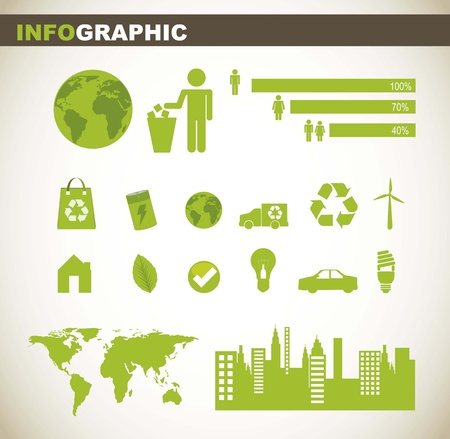 info graphic with people sign and green elements. vector illustration Stock Vector - 15379339