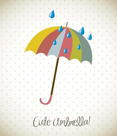 umbrella rain: cute umbrella over vintage background. vector illustration