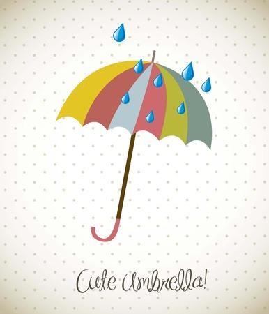 cute umbrella over vintage background. vector illustration Stock Vector - 15379278