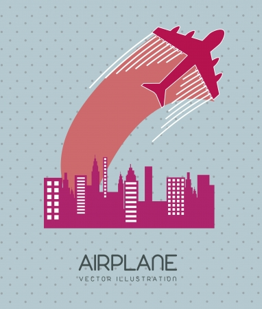 airplane with buildings over blue background. vector illustration Vector