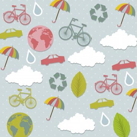 backkground: cute ecology signs over blue background. vector illustration Illustration
