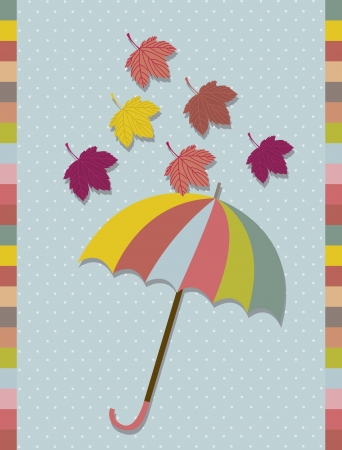 fall leaves with cute umbrella over blue background. vector Vector