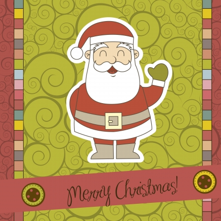 christmas card with santa claus over scrapbook. vector illustration Stock Vector - 15379422
