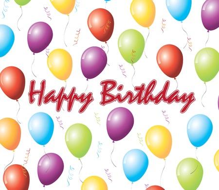 Carte de joyeux anniversaire avec le ballon sur fond blanc Banque d'images - 15420795