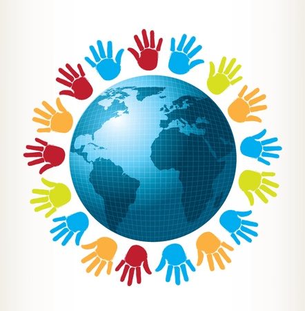 world peace: colored hands around of world over white background