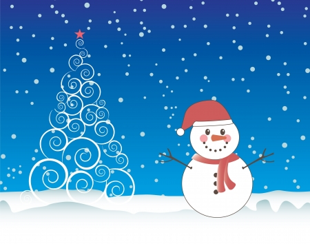 Merry Christmas card with snowman over sky and tree background Vector
