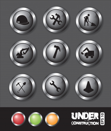 under construction icons of buttons over gray background Stock Vector - 15420793